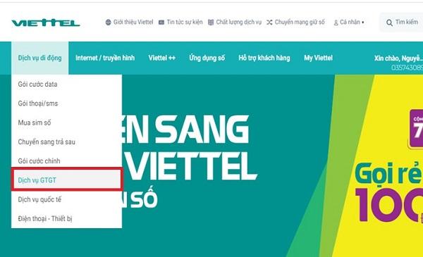 Kiểm tra trên website nhà mạng Viettel