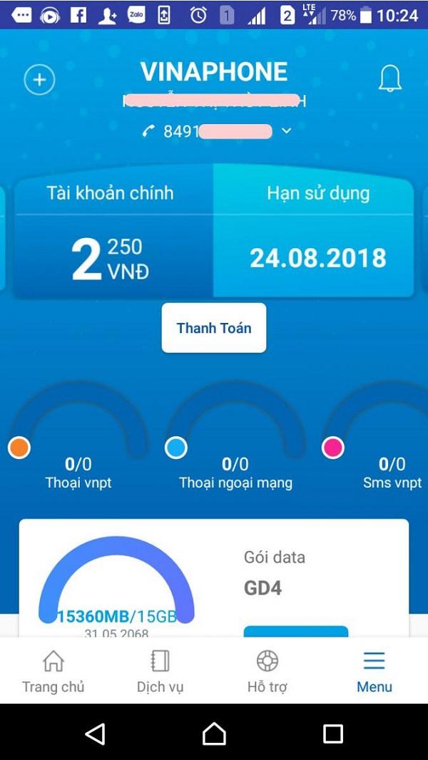 Kiểm tra thông qua ứng dụng My VNPT