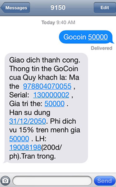Cách mua thẻ goCoin bằng SMS Viettel