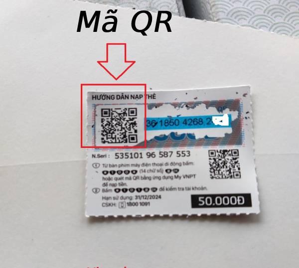 Mã QR trên thẻ cào điện thoại