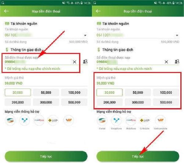 Nạp tiền qua Vietcombank Mobile Banking