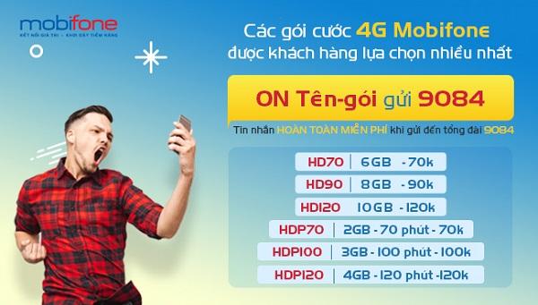 Điều kiện sử dụng các gói cước 4G Mobifone