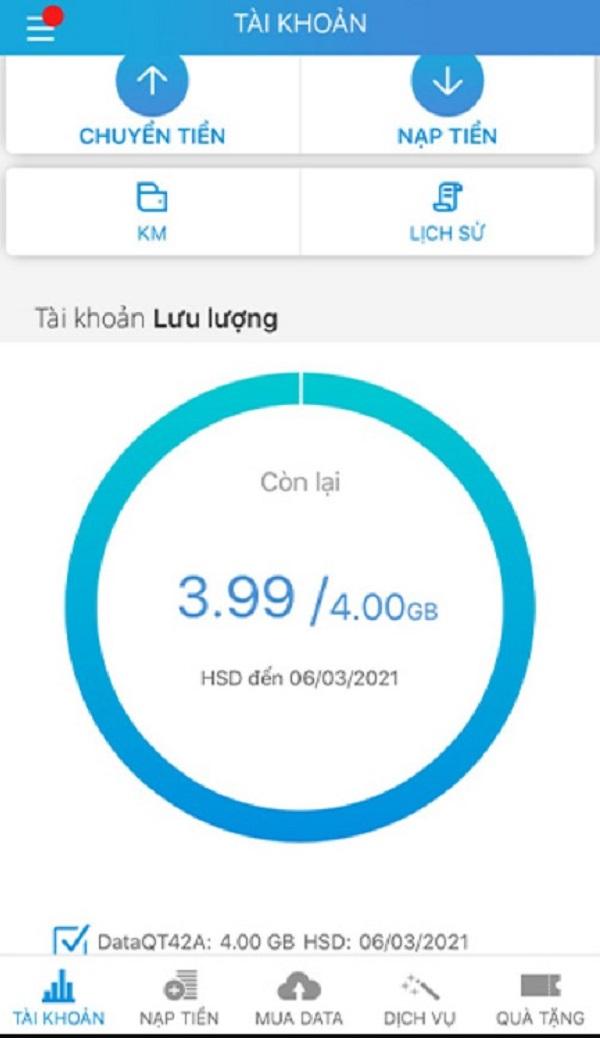 Kiểm tra qua ứng dụng My Mobifone