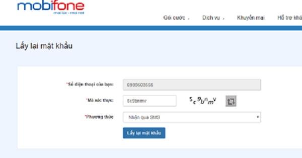 Lấy lại mật khẩu bắn tiền bằng cách truy cập website mobifone.vn