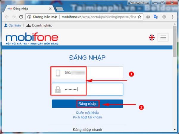 Nạp tiền trực tuyến cho thuê bao khác của Mobifone
