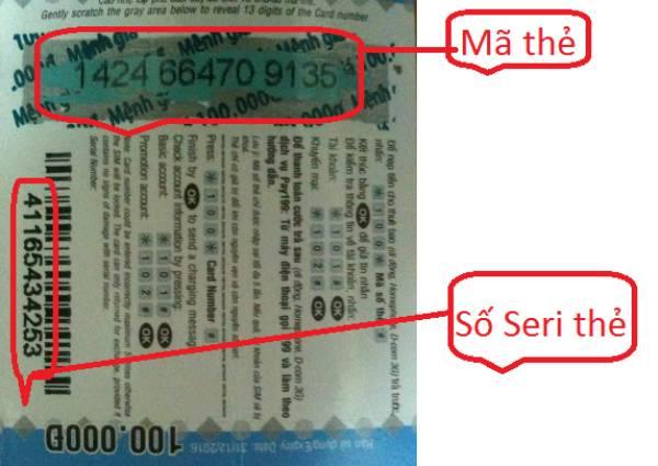 Nhiều người dùng nhầm lẫn mã thẻ cào với số seri