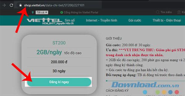 Đăng ký ST200 trên web
